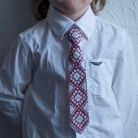 """Краватка для хлопчика """"Бордові ромби"""" (kravatka_01)"""