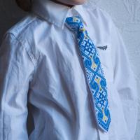 """Краватка для хлопчика """"Жовто-блакитні безкінечники"""" (kravatka_02)"""