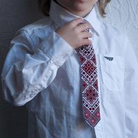 """Краватка для хлопчика """"Червоно-чорні ромби"""" (kravatka_04)"""